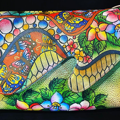 Hand Painted Genuine Leather Crossbody Bag