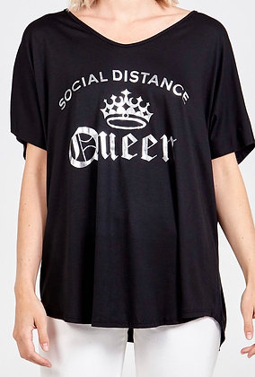 Social Distance Queen Black with Silver T-shirt