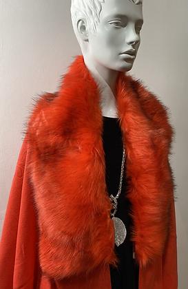Atomic Orange Faux Fur Shawl