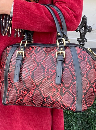 Couture Red Snake Leather Tote Bag