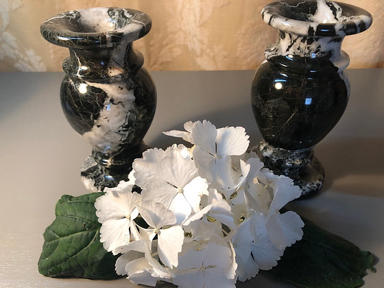 Pair of Antique Victorian Solid Marble Onyx Noir Urn Vases