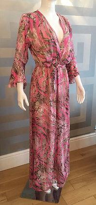 Graceful Snake Maxi Dress Hot Pink