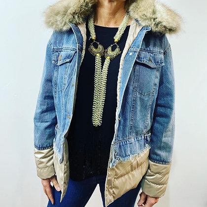 Luxury Designer Gold Denim Jacket with Faux Fur Exclusive Range