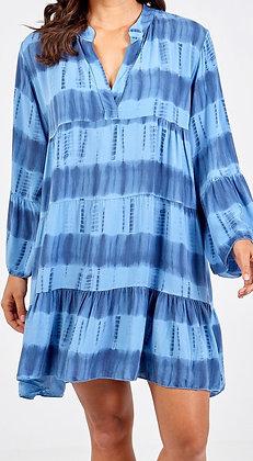 Tie Dye Tunic Dress Denim Blue