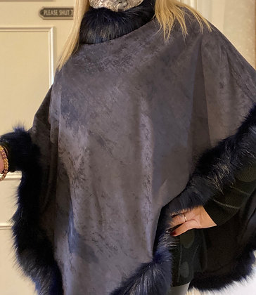 Sapphire Luxury Faux Fur Suede Poncho