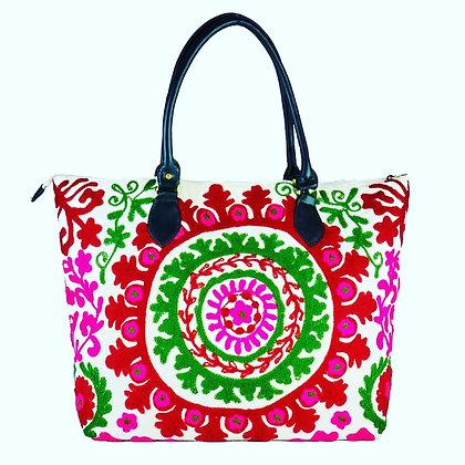 Handmade Embroidered Indian Vegan Weekend Bag