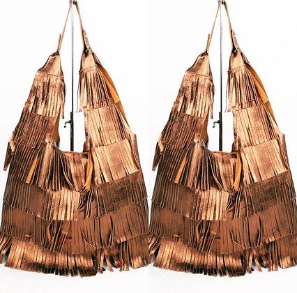Bronze Italian Designer Fringed Metallic Bag
