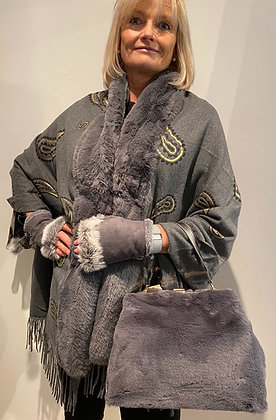 Outdoor Dining Amber Faux Fur Shawl Grey