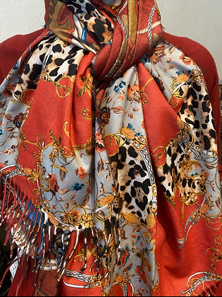 Reversible Cashmere Mix Scarf Red