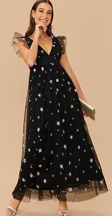 Twinkle Twinkle Little Star Black Mesh Dress