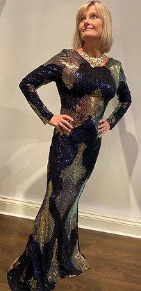 Margo Marola Midnight Sapphire Sequin Dress