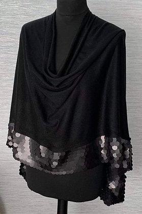 Santorini Glamour Sequin Poncho Black