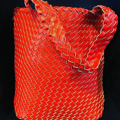 Red Woven Eco Leather Shoulder Bag