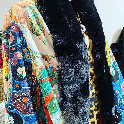 Frida Kahlo Faux Fur Wrap