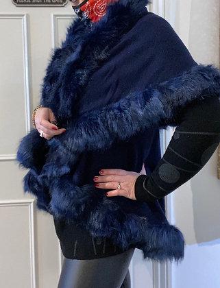 Florence  Faux Fur Double Layer Navy Gilet Wrap