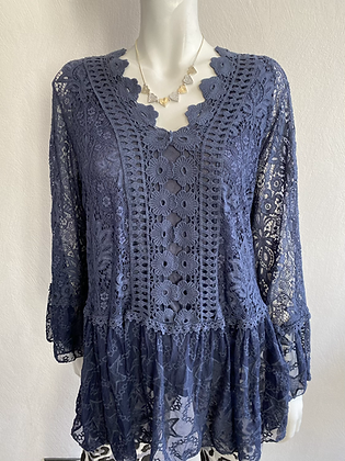Navy Lace Star Tunic Top
