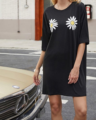Daisy Black T-shirt Dress