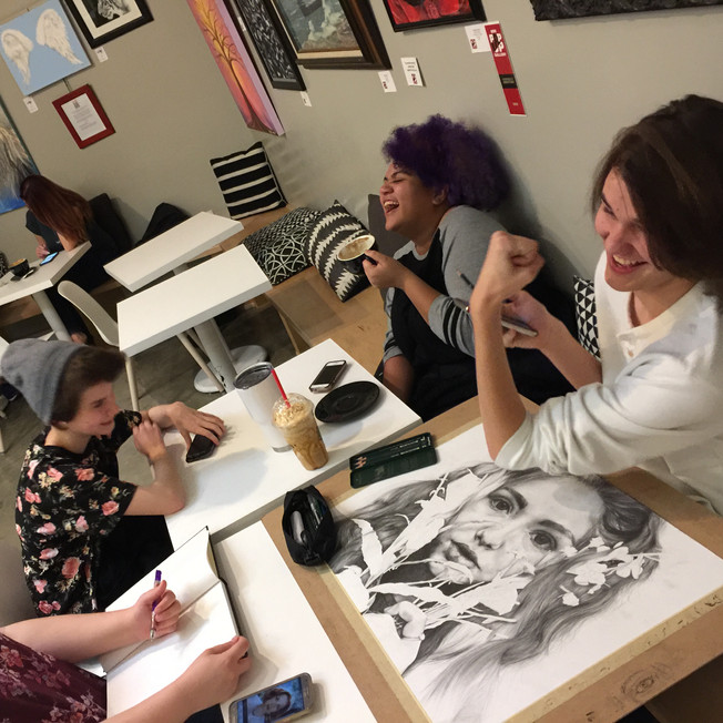BISD art students drew at the reception