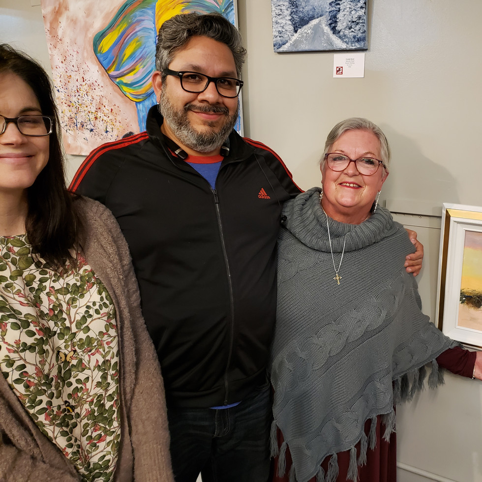 Dee Bowen, artist, with Josh and Hilary Santillan of Central Arts of Bedford Gallery.