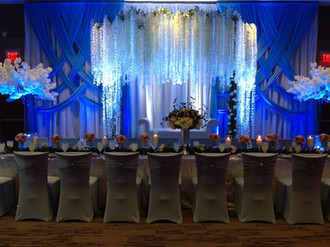 Grand Hall Quinceanera with custom stage decorations