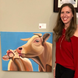 """Artist Genna Tucker with her painting """"Cowlick"""""""