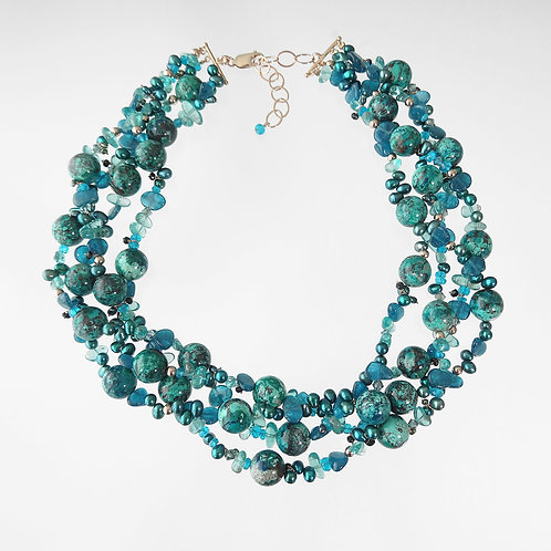 Chrysocolla, Apatite & Freshwater Pearl Necklace