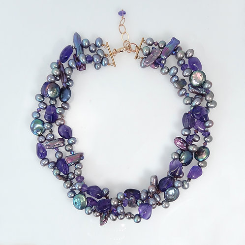 Amethyst & Pearl Bead Necklace