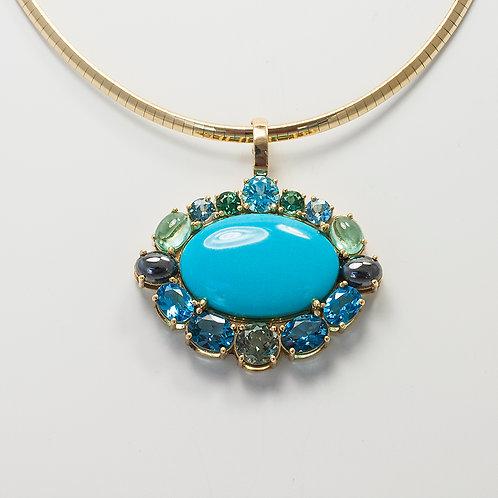 Turquoise & Gem Cluster Pendant