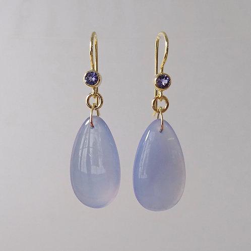 Chalcedony & Tanzanite Earrings