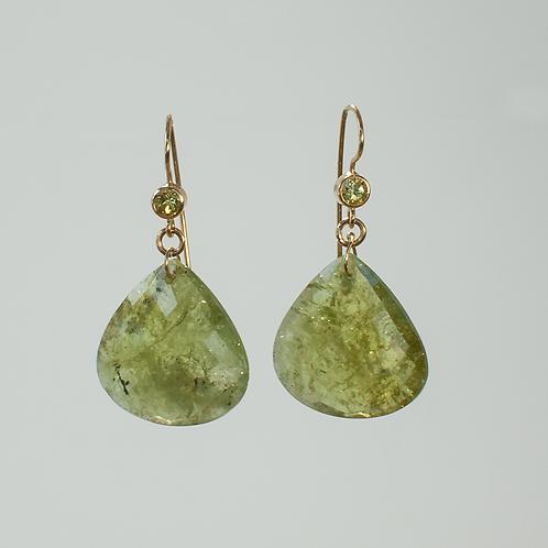 Green Moss Garnet & Demantoid Garnet Earrings
