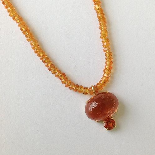 Spessartite Garnet, Tourmaline & Mandarin Garnet Necklace