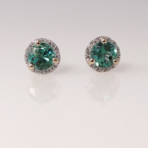Green Tourmaline & Diamond Halo Earrings