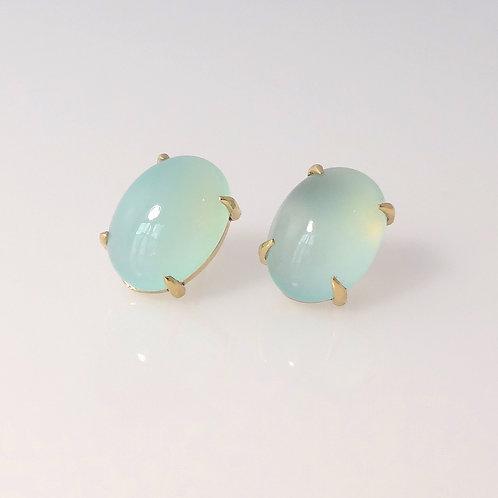 Green Chalcedony Cabochon Earrings