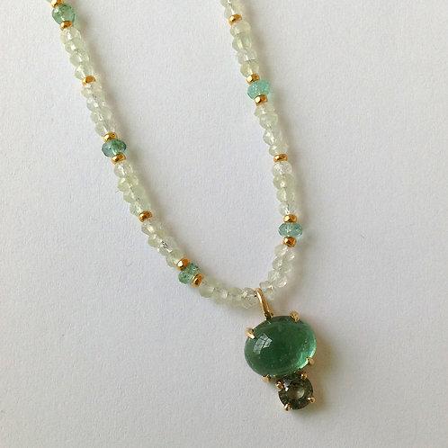 Green Tourmaline, Sapphire & Prehnite Necklace