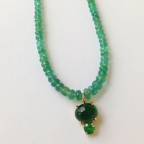 Emerald, Tsavorite Garnet & Tourmaline Necklace