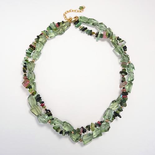 Tourmaline & Green Amethyst Bead Necklace