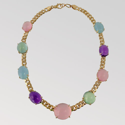Cabachon Gemstone and Gold Link Necklace