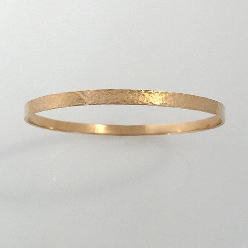 14k Hammered Gold Bangle