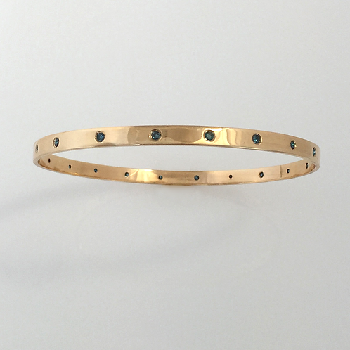 Blue Diamond & 14k Gold Bangle