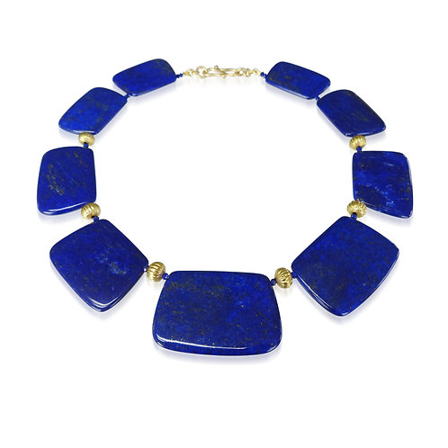 Lapis & Gold Bead Necklace