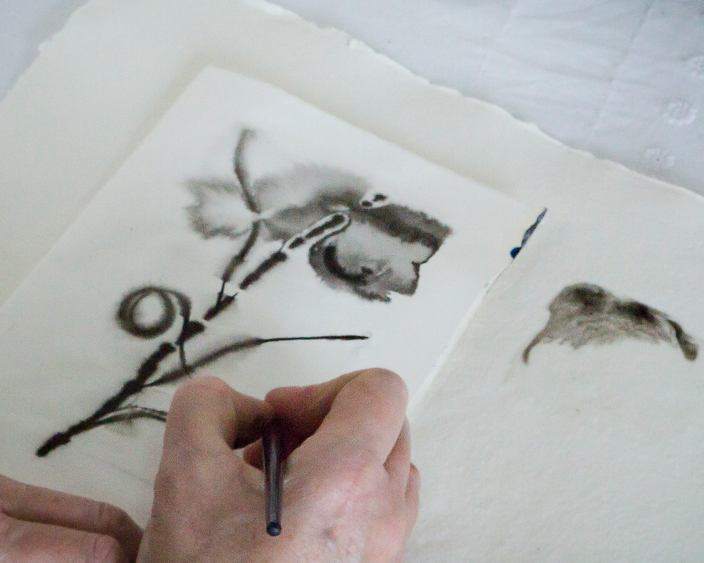 Indian ink sketches in the studio