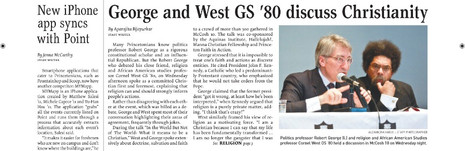 George & West '80 discuss Christianity