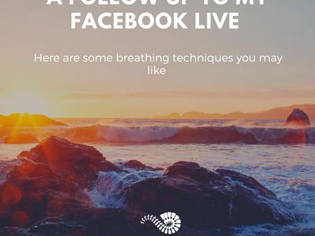 My Facebook live follow up