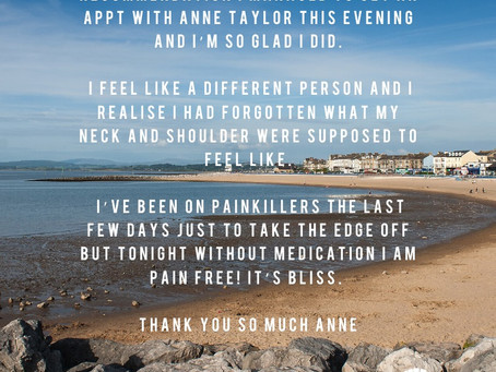 Thanks to a personal recommendation I managed to get an appointment with Anne Taylor.