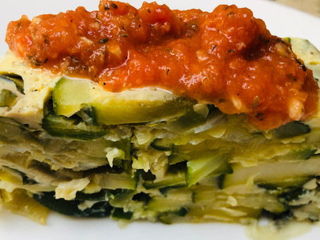 Zucchini & Basil Terrine with Fresh Tomato Coulis