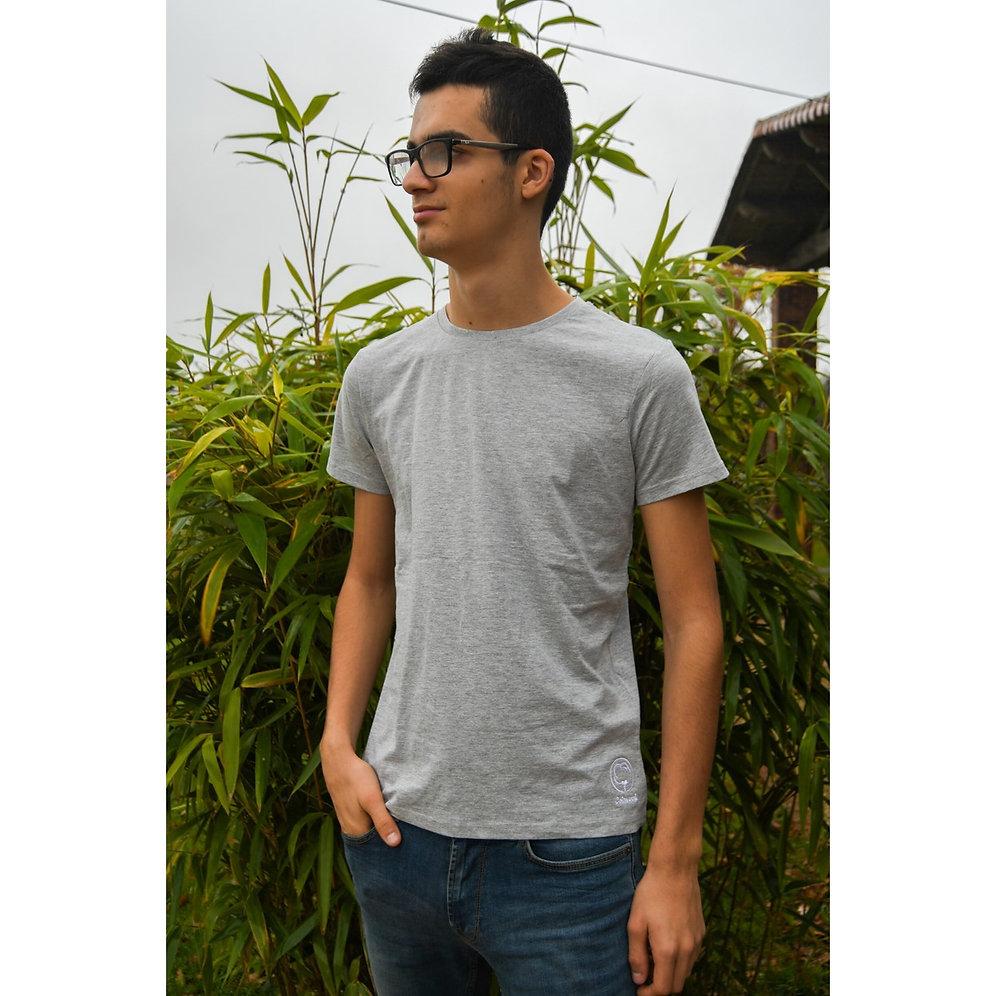 Hombre Orgánico Camiseta Algodón de Bordado Grisverde TFJc3lK1