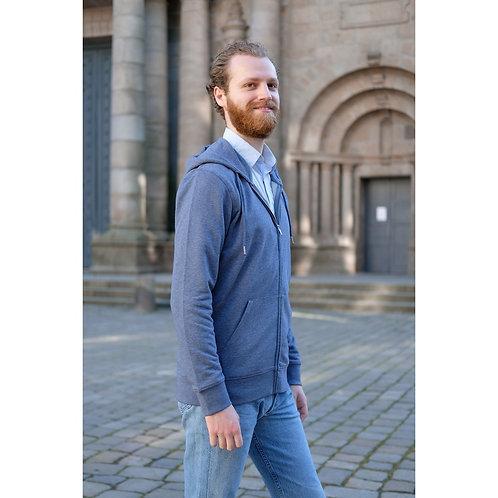 Veste capuche zippée mixte bleu chiné en coton BIO