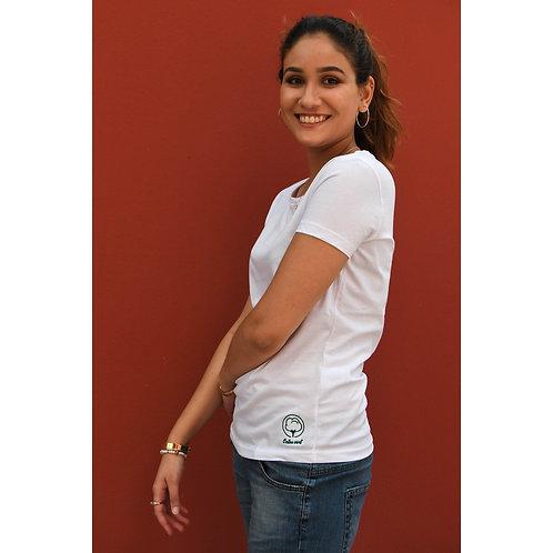 T-shirt Femme blanc brodé en coton BIO