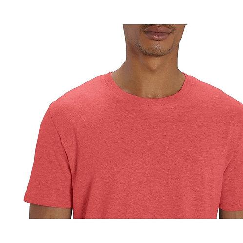 T-shirt Homme col rond rouge corail chiné en coton BIO