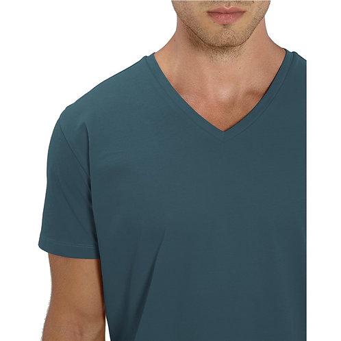 T-shirt Homme col V bleu stargazer en coton BIO